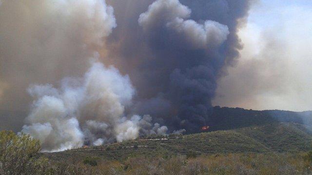 Imagen aérea del incendio de Jávaea y Benitatxell