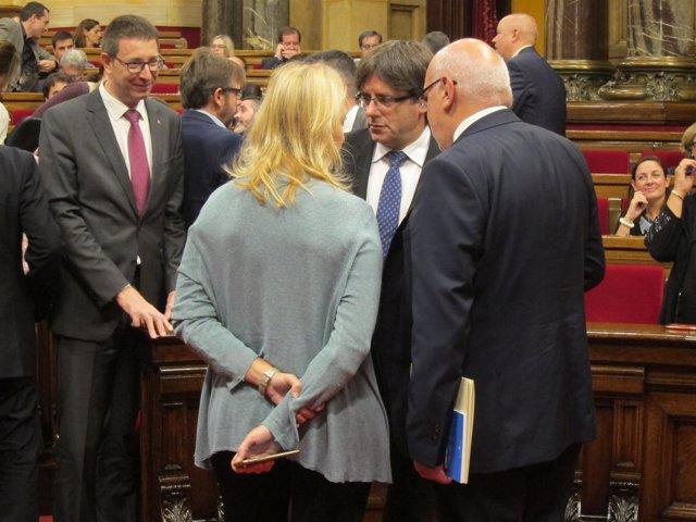 Consellers C.Mundó y N.Munté, pte.C.Puigdemont, conseller J.Baiget