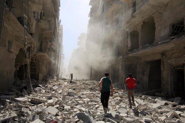 Alepo tras un bombardeo