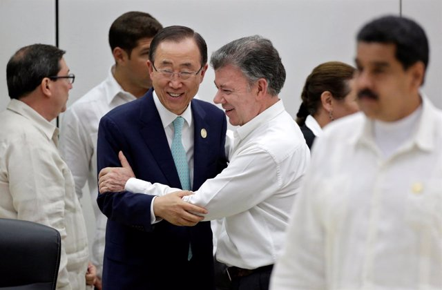 Ban Ki Moon y Juan Manuel Santos