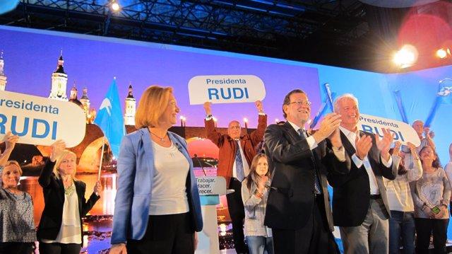 Mariano Rajoy y Rudi en Zaragoza