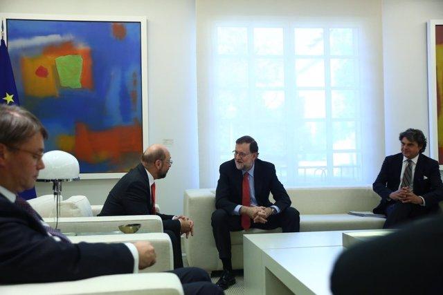 Mariano Rajoy y Martin Schulz en La Moncloa