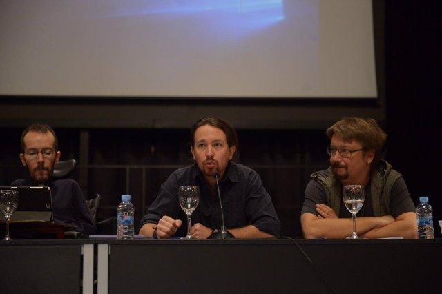 Echenique, Iglesias y Domènech en el Consejo Ciudadano Estatal de Podemos