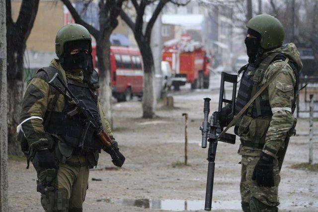 Fuerzas especiales miliares rusas en Daguestán