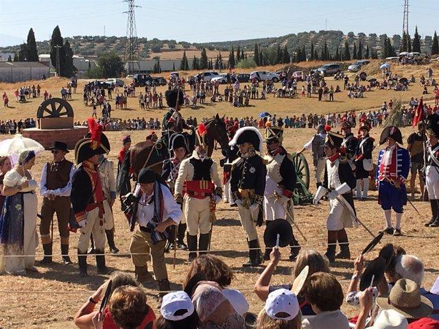 Medio millar de personas recrean la batalla de Bailén de1808 en la 71 edición