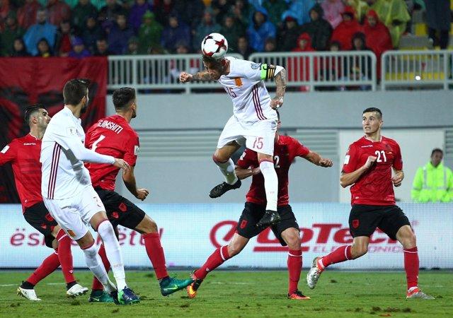 Sergio Ramos en el Albania - España