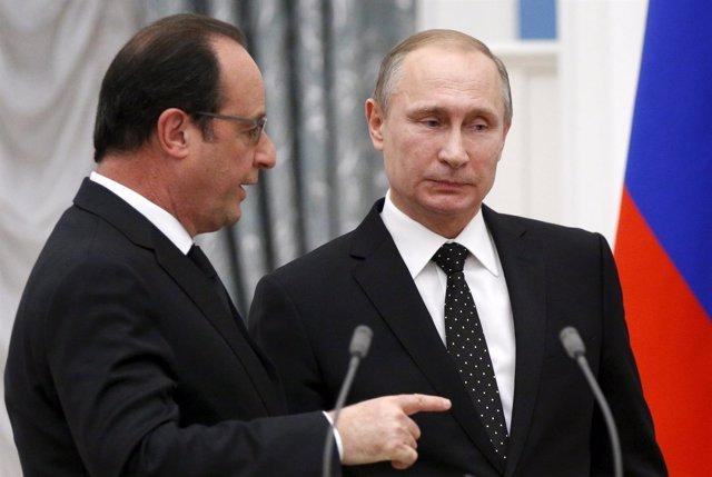 François Hollande y Vladimir Putin