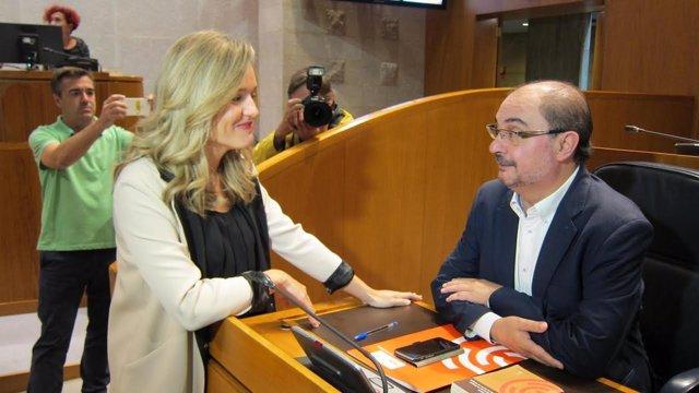 Pilar Alegría y Javier Lambán este lunes en las Cortes de Aragón.