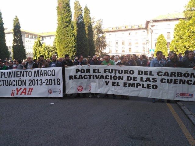Movilización en defensa del sector del carbón.