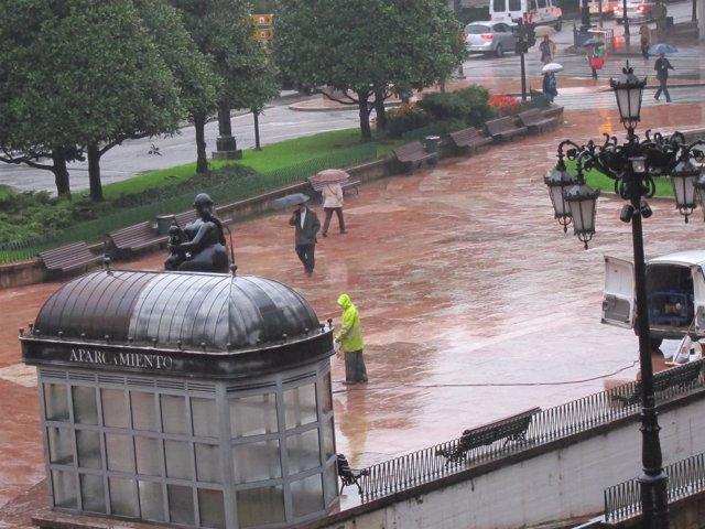 Lluvia en Oviedo, lluvia, temporal, otoño, invierno