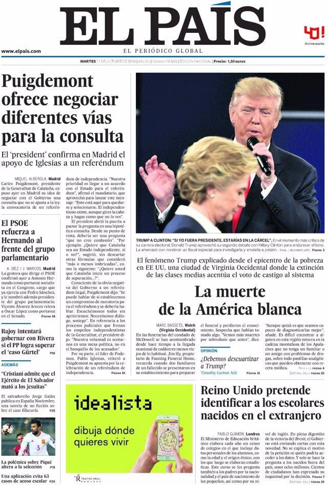 Las portadas de los periódicos de hoy, martes 11 de
