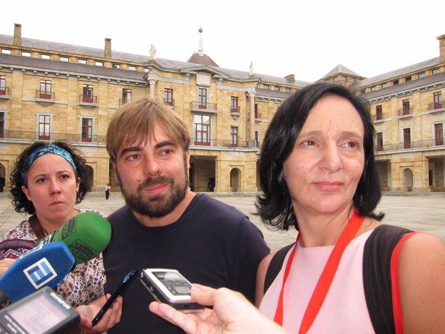 Carolina Bescansa y Daniel Ripa (Podemos) en Gijón