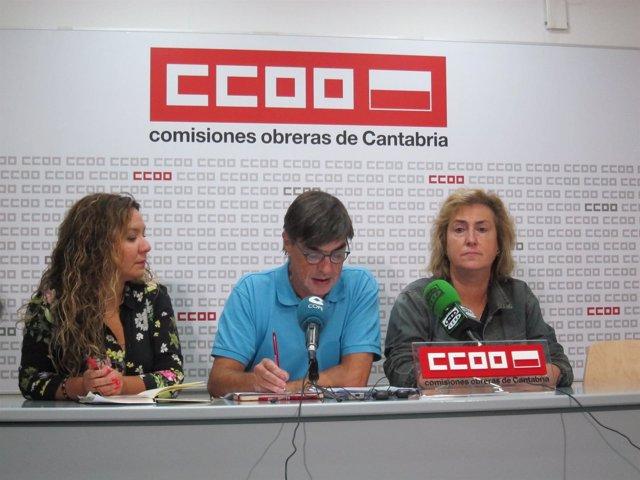 Sindicalistas de CCOO en rueda de prensa