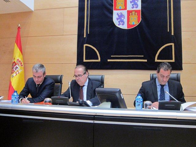Luis Abraira (centro), en la Comisión de Investigación del HUBU.