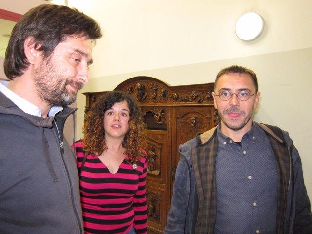 Rafael Mayoral, Sofía Castañón y Juan Carlos Monedero