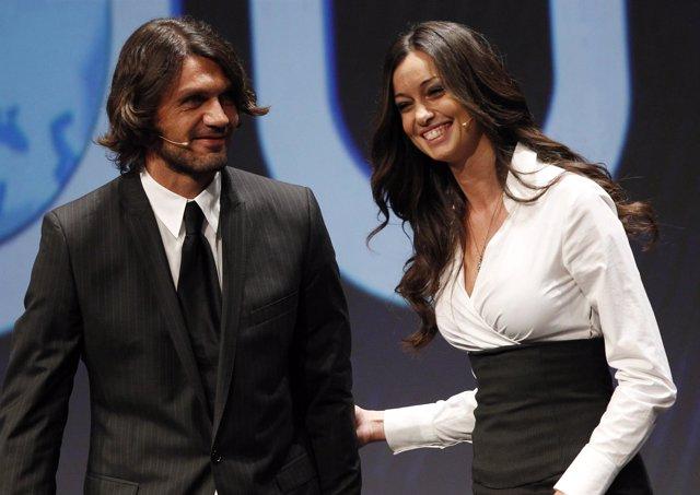 Paolo Maldini y la presentadora italiana Laura Esposto
