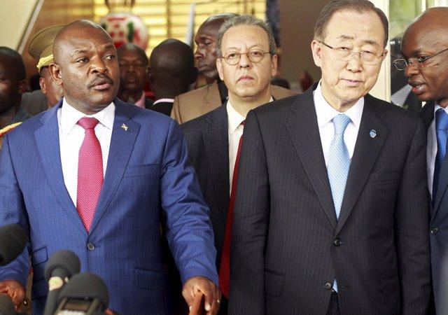 El presidente de Burundi, Pierre Nkurunziza, y Ban Ki Moon