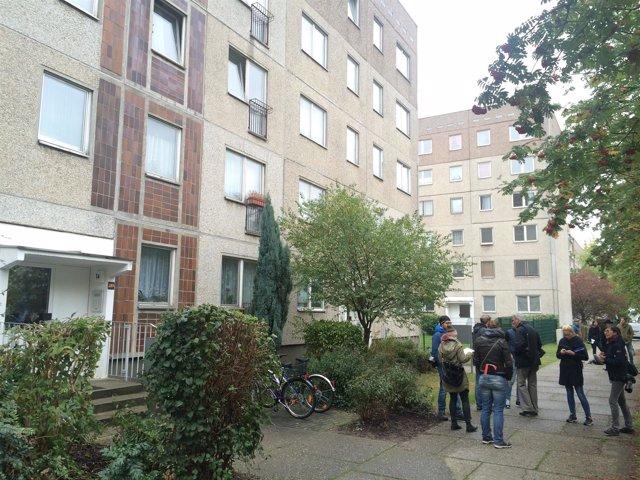 Edificio de Leipzig donde dos refugiados retuvieron a un supuesto terrorista