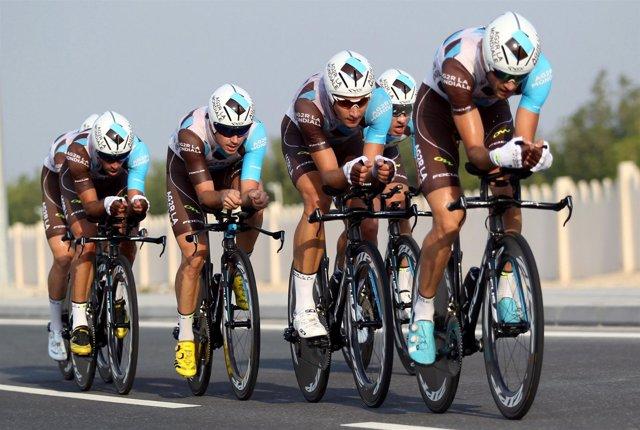 Ciclistas del AG2R en el Mundial de Doha
