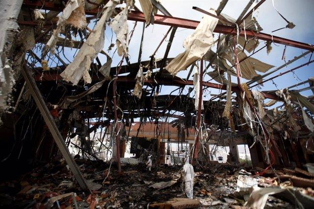 Bombardeo de un funeral en la capital de Yemen, Saná