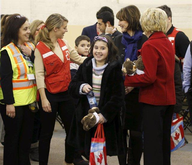 Refugiados sirios llegan a Montreal, en Canadá