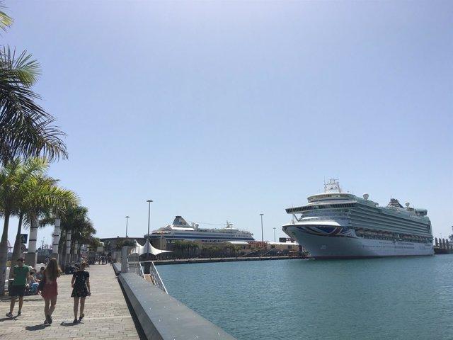El muelle de Santa Catalina, atraque de los cruceros que llegan a Canarias