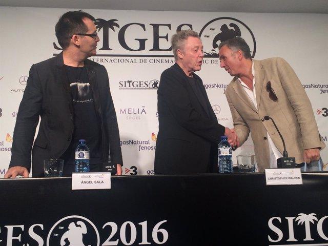 Actor Christopher Walken; Àngel Sala, Mike Hostench (Festival de Sitges)