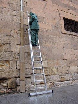Un operario trabaja en Salamanca para convertirla en Verona
