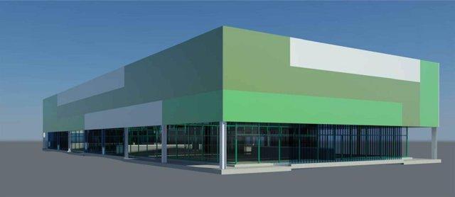 Infografía del edificio de las nuevas pistas de pádel en La Albericia