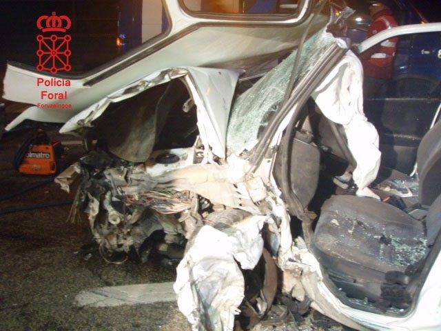 Estado del vehículo accidentado en la N-121