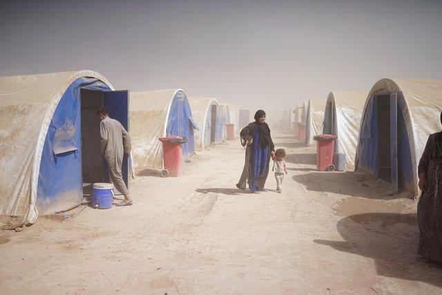 Campamento de desplazados cerca de Qayara, Irak