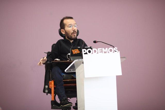Pablo Echenique en rueda de prensa