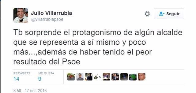 Tuit de Julio Villarrubia al que ha respondido Óscar Puente