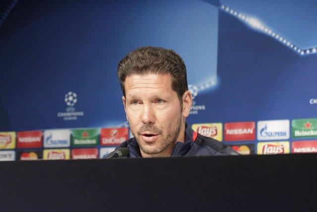 Diego Pablo Simeone en rueda de prensa en el media day del Atlético de Madrid
