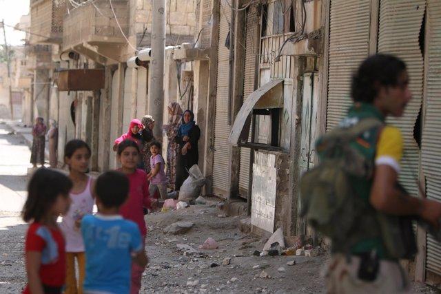 Niños en Manjib, Alepo (Siria)