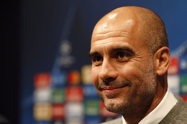 El entrenador del Manchester City, Pep Guardiola, en el Camp Nou
