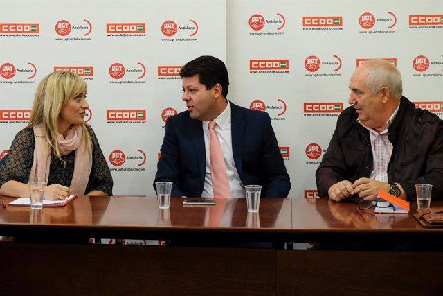 Carmen Castilla (UGT-A), Fabián Picardo y Francisco Carbonero (CCOO)