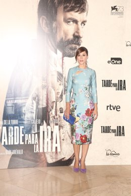 Ruth Díaz en la presentación de la película Tarde para la ira