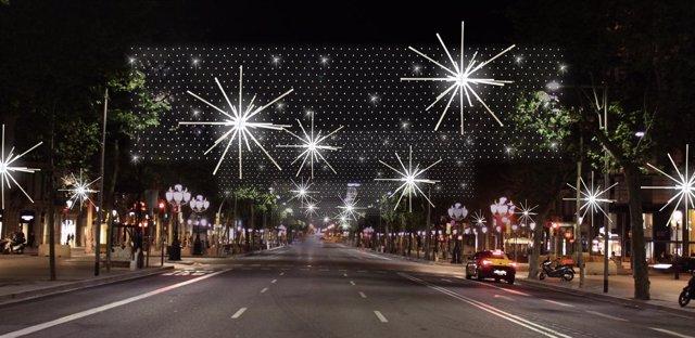El alumbrado navideño de paseo de Gràcia se inspira en la forma de una estrella