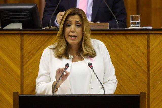 La presidenta de la Junta de Andalucía, Susana Díaz, durante el discurso