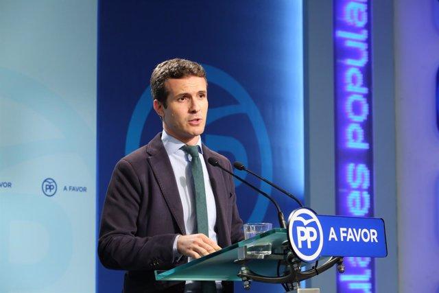 Rueda de prensa de Pablo Casado