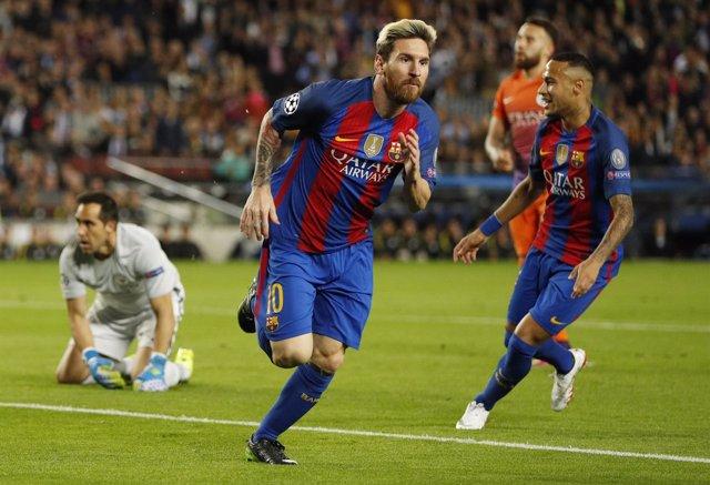 Lionel Messi celebra el 'hat-trick' ante el Manchester City