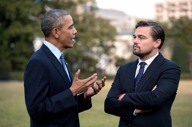 Barack Obama y Leonardo DiCaprio