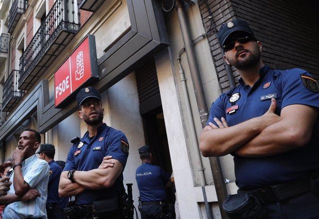 Sede del PSOE en la calle Ferraz durante el Comité Federal
