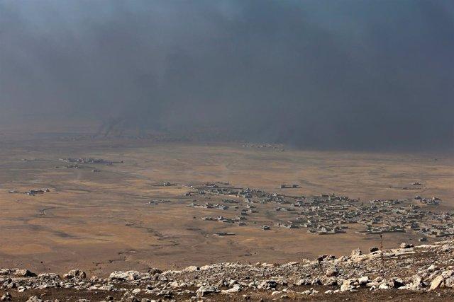 Vista general de los combates en la ofensiva sobre Mosul
