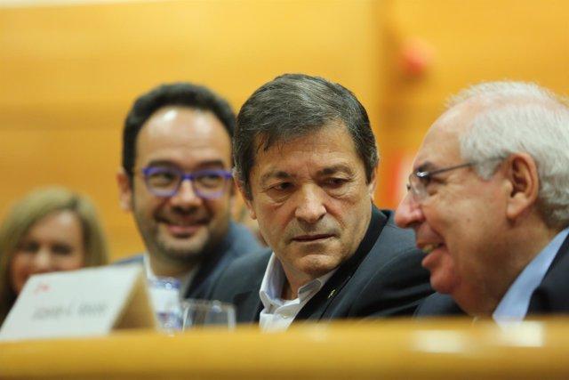 Javier Fernández, Antonio Hernando y Vicente Álvarez  Areces en el Senado