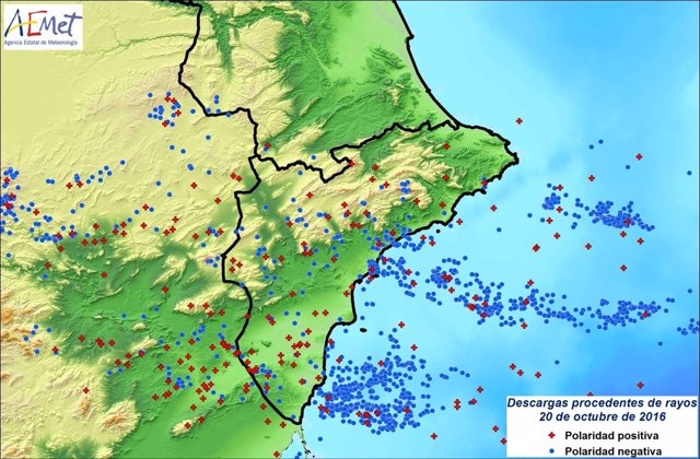 Rayos registrados en la Comunitat, la mayoría en la provincia de Alicante