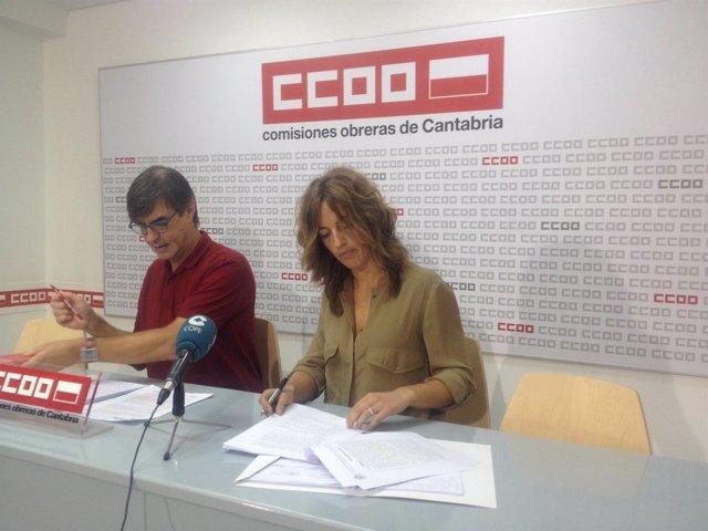 Rueda de prensa de CCOO para dar a conocer la sentencia