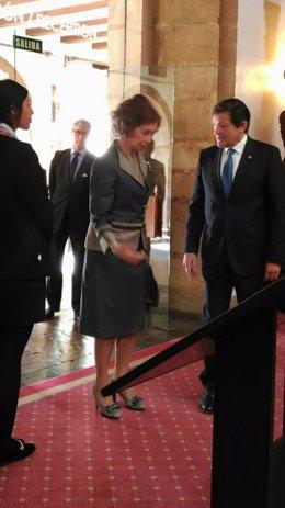 La Reina Doña Sofía, a su llegada a Oviedo en 2016
