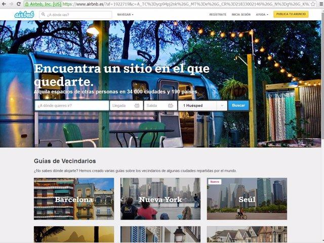 Página web de Airbnb